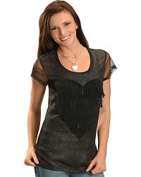 Cowgirls & Diamonds Lace Cutout Glitter Tee at Sheplers