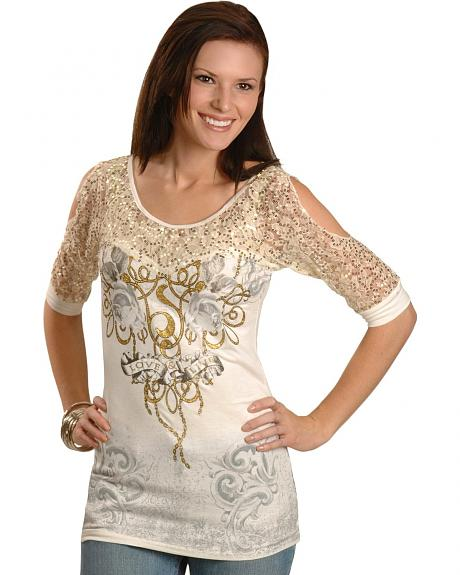 Cowgirls & Diamonds Love & Live Lace, Silver Glitter & Sequin Embellished Top