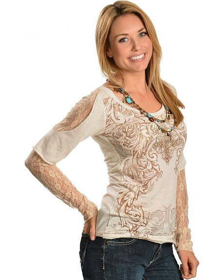 Cowgirls & Diamonds Rhinestone & Sequin Embellished Lace Sleeve Top