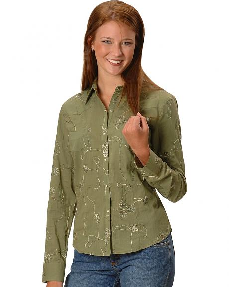 Women's Sutache Long Sleeve Top