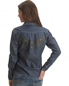 Rock & Roll Cowgirl Winged Cross Denim Long Sleeve Top