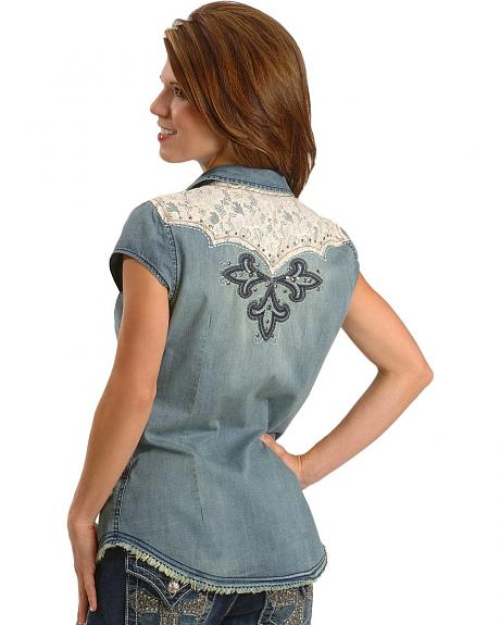 Miss Me Jeans Embroidered Denim Western Shirt