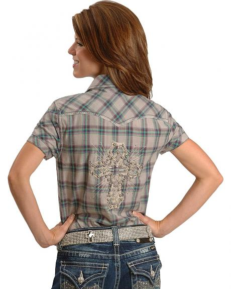 Miss Me Plaid Embroidered Cross Western Shirt