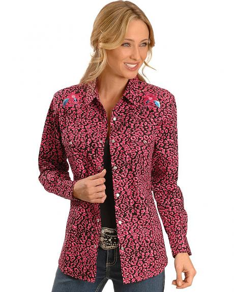 Cowgirl Hardware Floral & Leopard Print Western Shirt
