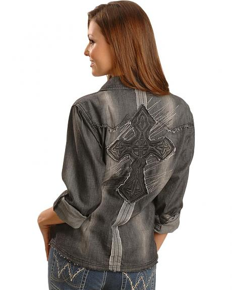 Rock & Roll Cowgirl Distressed Cross Applique Western Shirt