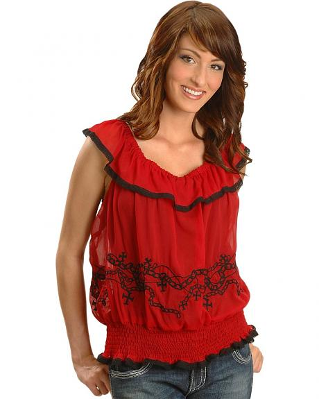 Rock & Roll Cowgirl Sleeveless Embroidered Peasant Top