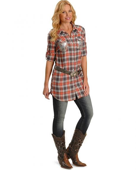Miss Me 3/4 Sleeve Sequin Pocket Plaid Shirt