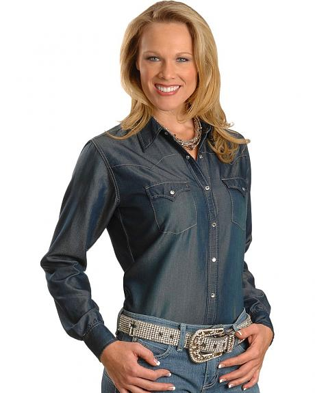 Cowgirl Hardware Denim Rhinestone Snap Western Shirt
