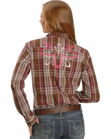 Embellished Butterfly Plaid Western Shirt