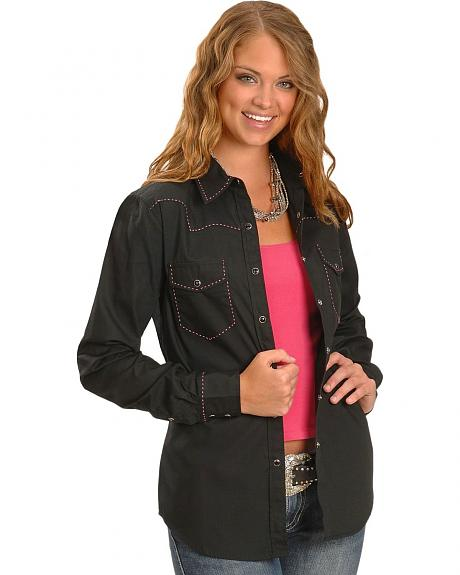 Cowgirl Hardware Pink Saddle Stitch Western Shirt
