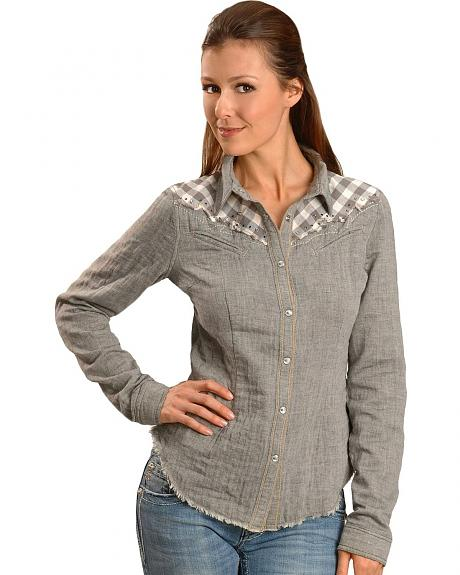 Miss Me Plaid Embellished Yoke Long Sleeve Western Top