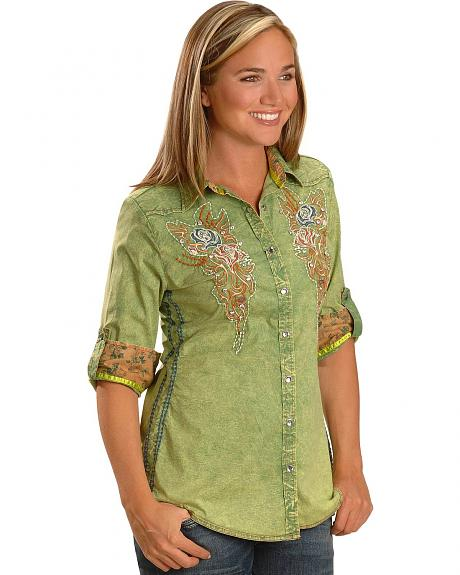 Roar Floral Embroidered Long Sleeve Western Top