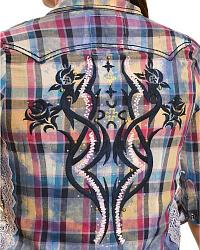 Roar Lace & Plaid Short Sleeve Western Top at Sheplers