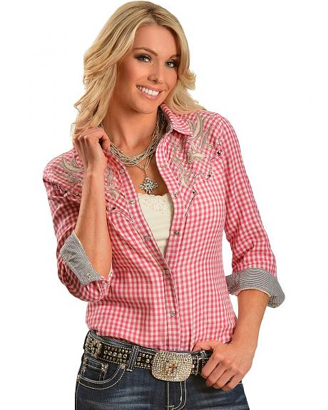 Miss Me Pink Plaid Bedecked Lace Yoke Long Sleeve Western Top
