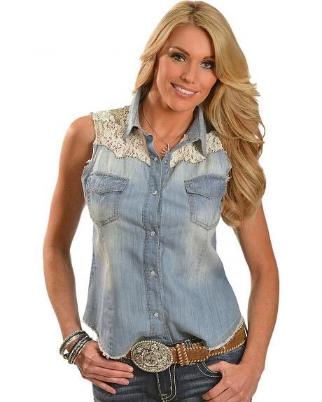 Miss Me Denim Sequin & Lace Yoke Sleeveless Top