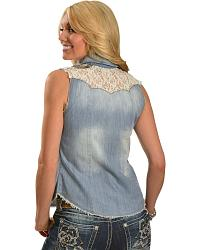 Miss Me Denim, Sequin & Lace Yoke Sleeveless Top at Sheplers