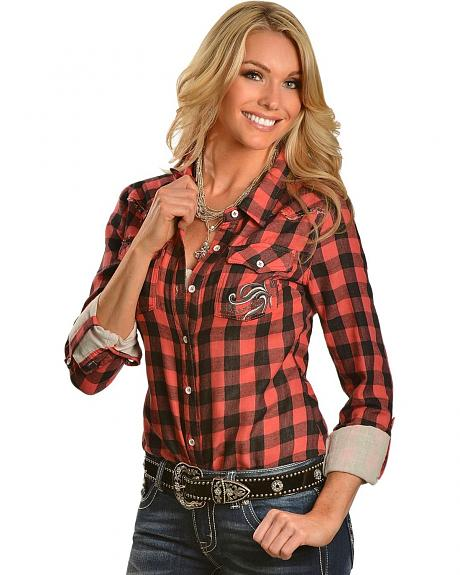 Miss Me Rhinestone Embellished & Embroidered Checkered Western Top
