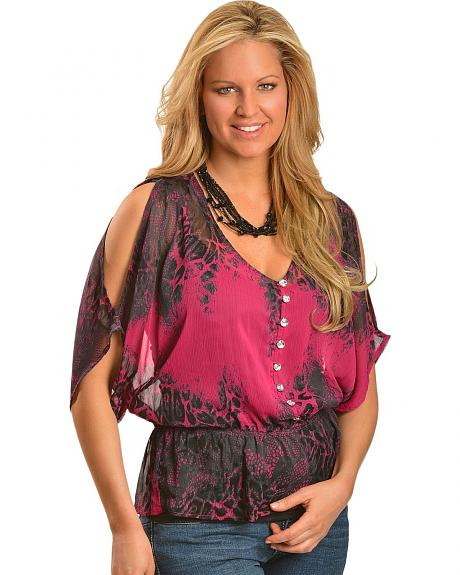 Rock & Roll Cowgirl Crinkle Georgette Animal Print Top