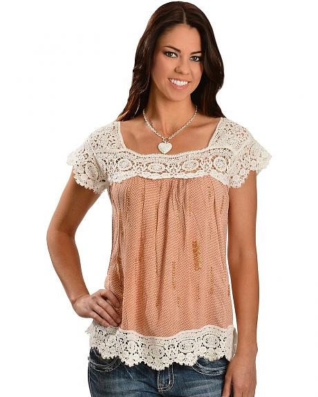 Miss Me Crocheted Lace with Beaded Accents Top