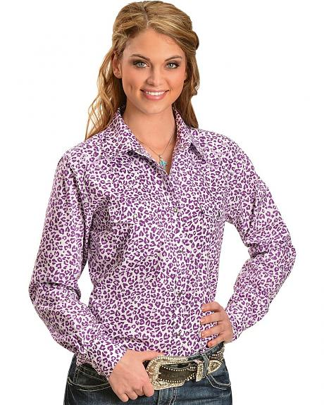 Cowgirl Hardware Rhinestone Embroidered Cheetah Print Long Sleeve Top