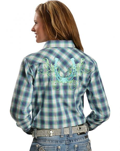Cowgirl Hardware Plaid Hombre Horseshoe Long Sleeve Top