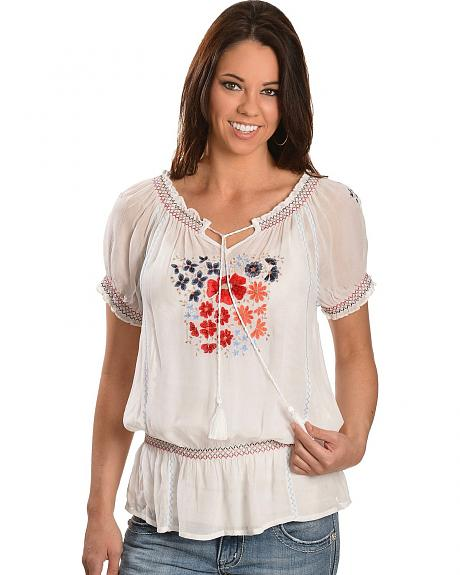 Floral Embroidered Short Sleeve Peasant Top