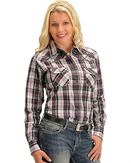 Cowgirl Hardware Plaid with Metallic Stitching Long Sleeve Top