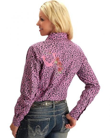 Cowgirl Hardware Rose & Horseshoe Embroidered Cheetah Print Western Shirt
