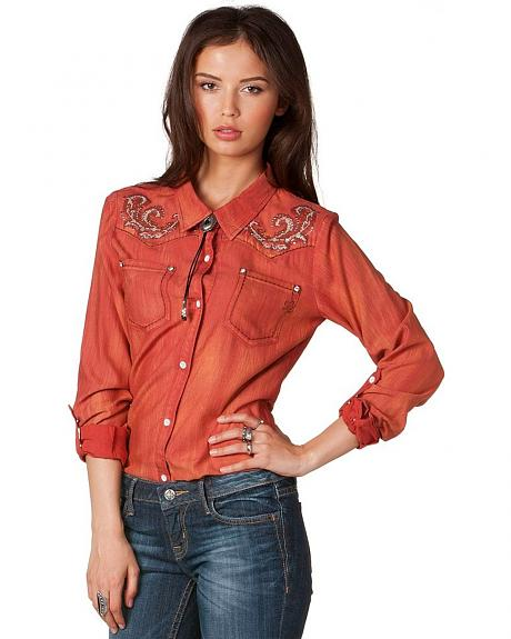 Miss Me Embroidered Yoke Long Sleeve Western Top