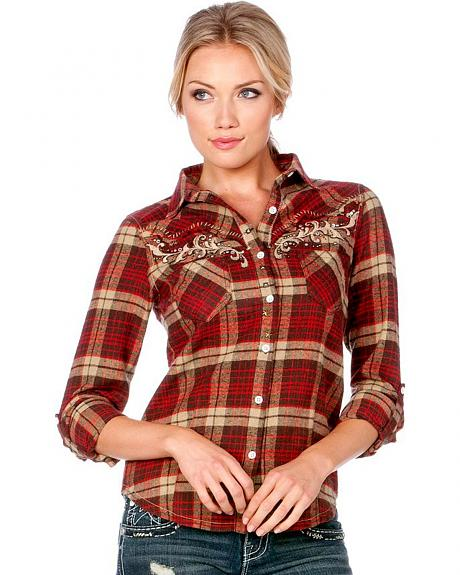 Miss Me Plaid with Embroidered Yoke Long Sleeve Top