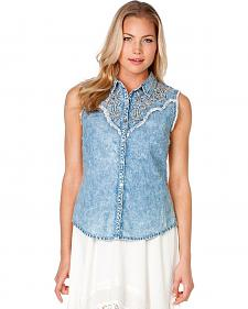 Miss Me Lace Back Chambray Sleeveless Western Top