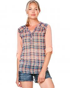 Miss Me Sheer Sleeve Plaid Top