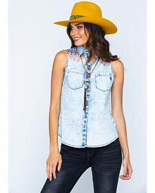 Miss Me Decorated Yoke Sleeveless Western Top
