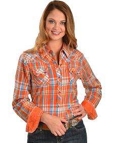 Cowgirl Up Orange Plaid Embroidered Shirt
