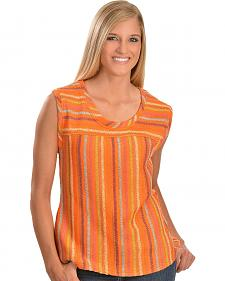 Cowgirl Up Orange Sleeveless Striped Top