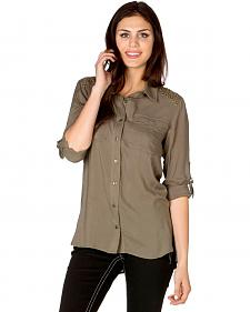 Miss Me Women's Olive Green Shoulder Embellished Woven Top