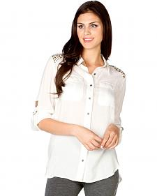 Miss Me Shoulder Embellished Woven Top