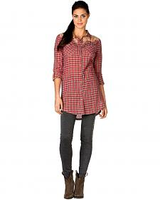 Miss Me Pink Plaid Scroll Applique Tunic