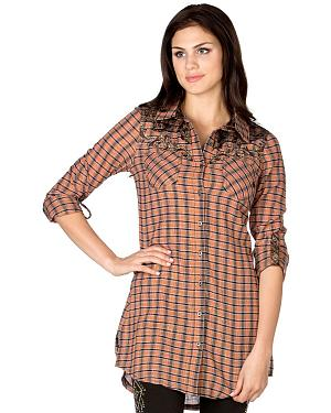 Miss Me Orange Plaid Cross Applique Tunic
