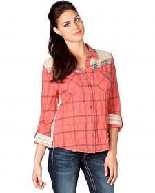 Miss Me Plaid Crocheted Yoke Top