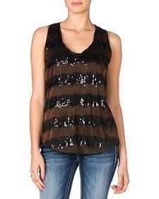 Miss Me Sequin Stripe Chiffon Tank Top