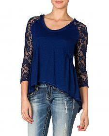 Miss Me Hooded Peplum Lace Top