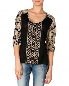 Miss Me Black Beaded Foil Aztec Print Woven Back Shirt