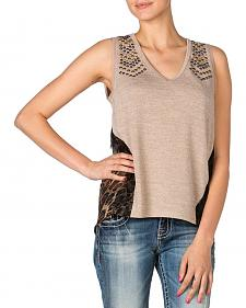 Miss Me Leopard Chiffon Back Tank Top