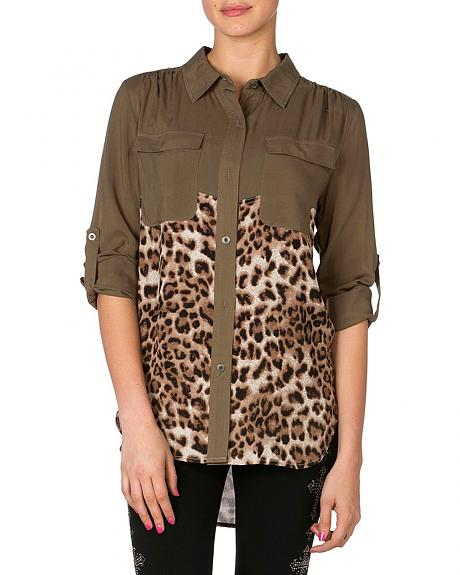 Miss Me Embellished Animal Print Top