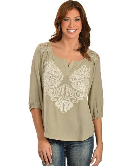 Miss Me Lace Embellished Crepe Top