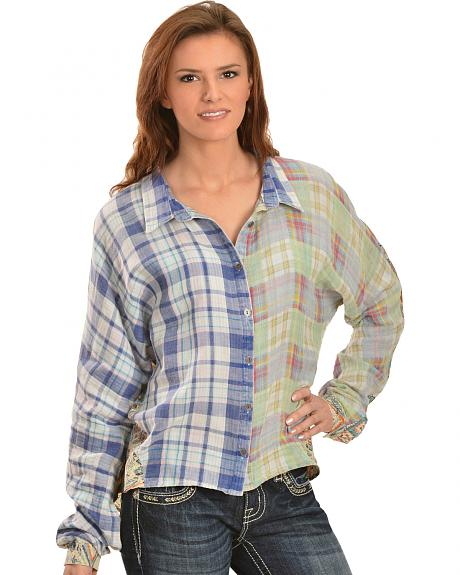 Miss Me Women's Mixed Media Plaid High-Low Top