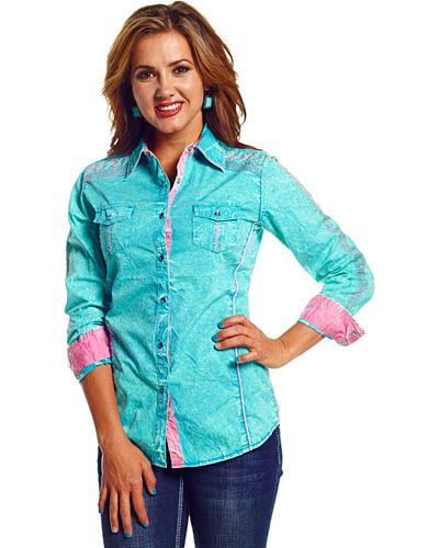 Cowgirl Up Womens Teal Stonewash Embroidered Western Shirt Western & Country CG41107