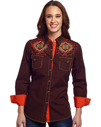 Cowgirl Up Womens Aztec Embroidered Western Shirt Western & Country CG40701