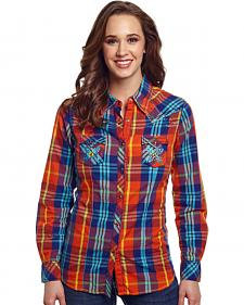 Cowgirl Up Women's Red Plaid Embroidered Western Shirt